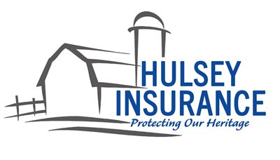 Words Hulsey Insurance over outline of a barn